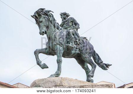 Plasencia Spain - February 15 2017: Equestrian Statue of Alfonso VIII of Castile conqueror of Plasencia to Almohads Rule 1197