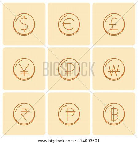 World currency symbols at coins: dollar euro pound yen ruble won rupee baht peso. Vector thin outline icon and sign set. Isolated infographic elements for web presentations social networks.
