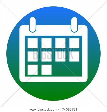 Calendar sign illustration. Vector. White icon in bluish circle on white background. Isolated.