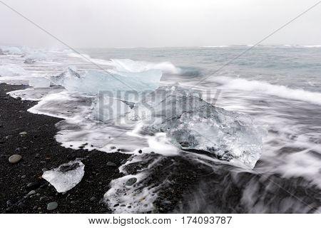 Iceberg Diamond beach at Vatnajokull Glacier Jokulsarlon Iceland