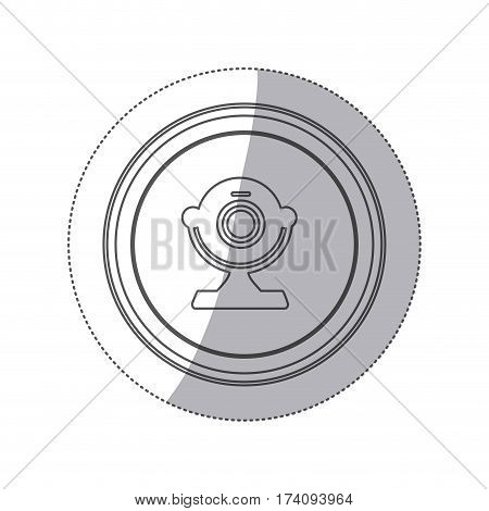 sticker monochrome silhouette circular button with webcam computer device vector illustration