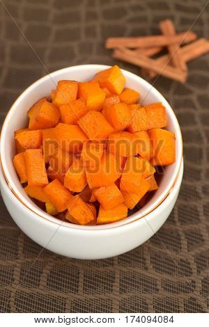 Homemade roasted cubed cinnamon butternut squash as side dish