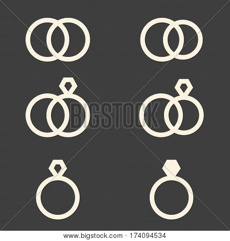 Set Of Engagement Rings Icons On Dark Grey Background