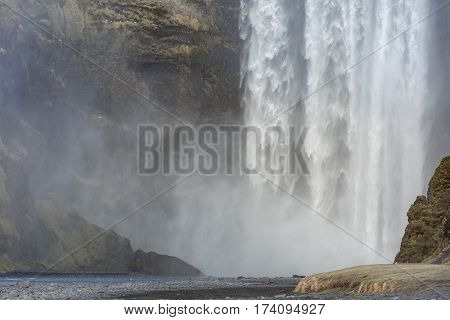 skogafoss waterfall at the South of Iceland near the town Skogar poster