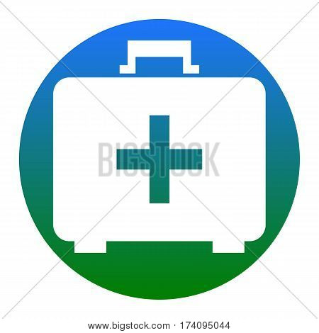 Medical First aid box sign. Vector. White icon in bluish circle on white background. Isolated.