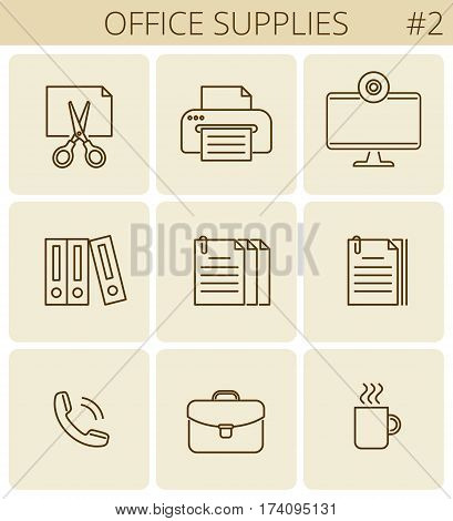 Office supplies and stationery outline icons: printer monitor document briefcase cup. Vector thin line business and education symbol set. Infographic signs for web presentations social network.
