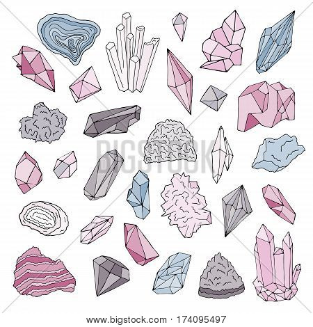 Minerals, crystals, gems. Isolated color vector illustration hand drawn set