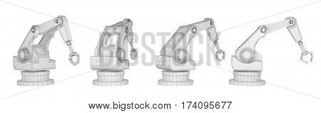 sequence robotic arm isolated on white. 3d rendering