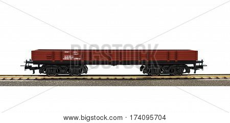 Freight train model railroad on white background