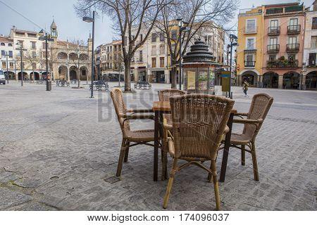 Plasencia Spain - February 15 2017: Plasencia Main Square terrace furniture Extremadura Caceres Spain