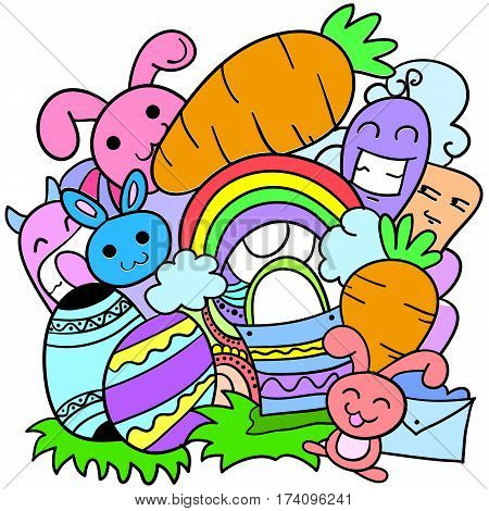 Doodle art of easter theme style vector art