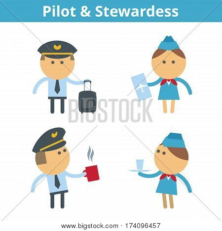 Occupations cartoon character set: pilot aviator and stewardess. Vector flat airplane crew professions userpic and icons. Collection for profiles web design social networks and infographics.