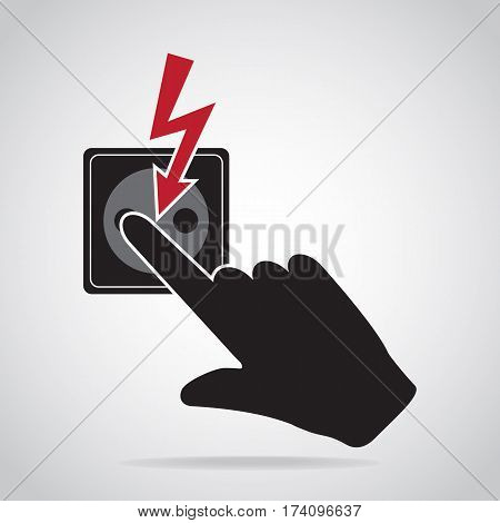 Plug Socket and hand icon Do not touch electrical appliances or switches icon warning sign