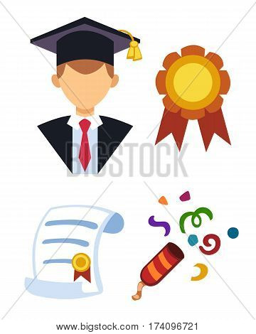 Graduation man silhouette uniform avatar vector illustration. Student education college success character and diploma gown flat achievement. Certificate knowledge person.