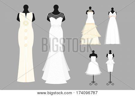 Wedding dress elegant style celebration vector illustration. Fashion bride design made in modern accessories silhouette. Holiday vector bridal shower composition.