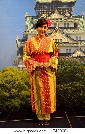 Traveler Thai Woman Wearing Kimono Dress Traditional Japanese Style
