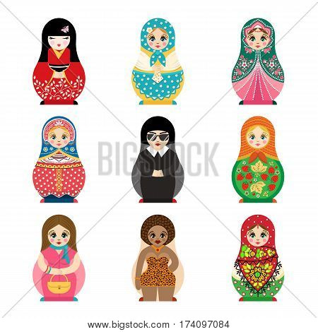 Traditional russian matryoshka toy set with handmade ornament figure pattern with child face and babushka woman souvenir painted doll vector illustration. Bright family gift colorful group.
