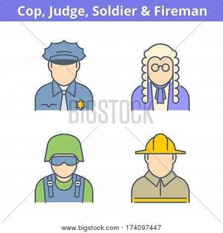 Occupations colorful avatar set: judge policeman fireman soldier. Flat line professions userpic collection. Vector thin outline icons for profiles web design social networks and infographics.