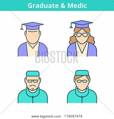 Occupations colorful avatar set: doctor medic graduate student. Flat line professions userpic collection. Vector color thin outline icons for profiles web design social networks and infographics.