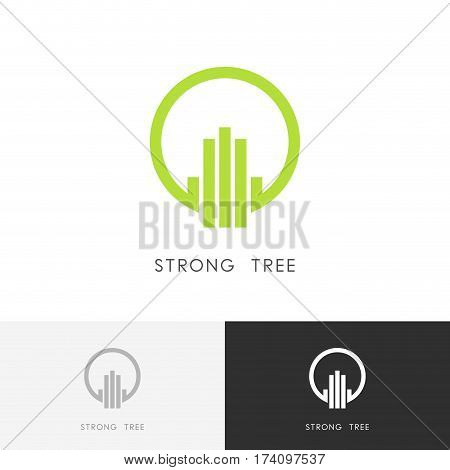 Strong tree logo - green plant symbol. Ecology, environment and nature vector icon.