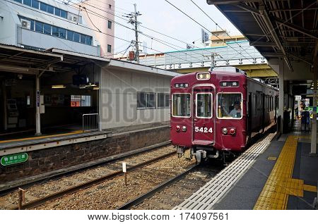 Red Classic Train Of Hankyu Kyoto Line Running From Kyoto Station Go To Numba Station At Osaka