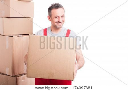 Delivery Guy Holding Cardboard Box And Smiling