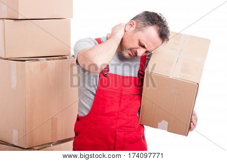 Portrait Of Mover Holding Box And Having A Neck Pain
