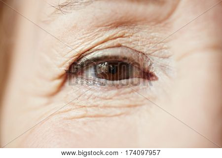 Extreme close-up of beautiful female eye with natural make-up looking at camera, its upper and lower lids covered with wrinkles