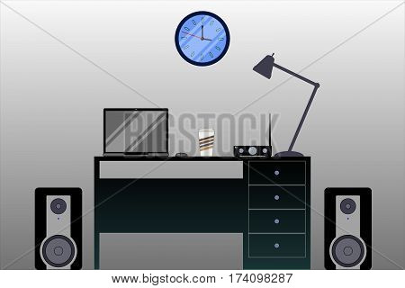 home office worktable notebook computer lamp composition illustration vector