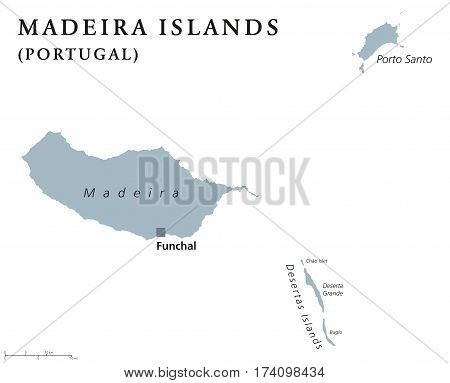 Madeira Islands political map with capital Funchal. Portuguese archipelago in the North Atlantic Ocean including Madeira, Porto Santo and the Desertas. Gray illustration with English labeling. Vector.
