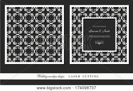 Laser cutting frame and ornamental panel set. Square filigree cutout envelope design. Front and back. Vector.