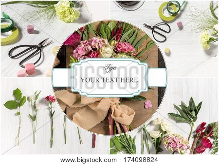 The florist desktop with working tools on white wooden background. Collage with copyspace
