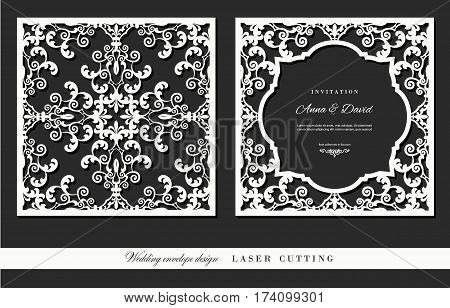 Laser cutting frame and damask panel set. Square filigree cutout envelope design. Front and back. Vector.
