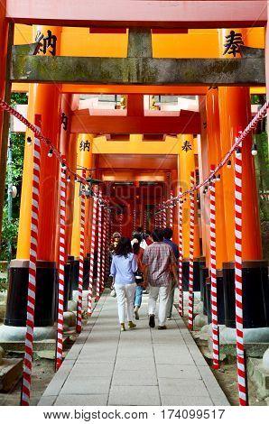 Tunnel Of Torii Gates At Fushimi-inari Shrine
