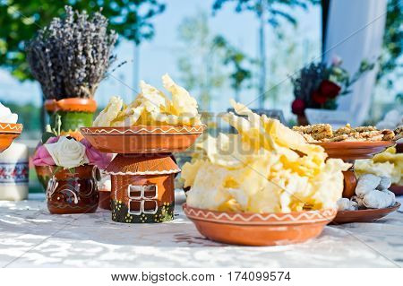 beautiful scenery and the sweet table in traditional style wedding