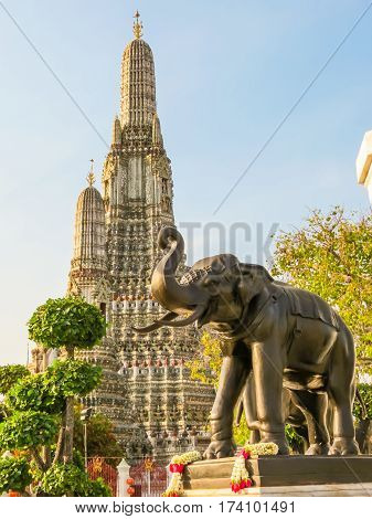 Khmer-style Prang - towers of the Wat Arun Temple. Bangkok, Thailand
