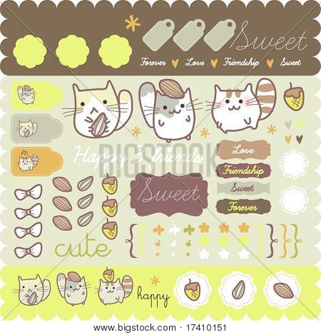 Funny Hamster sticker collection for scrapbook