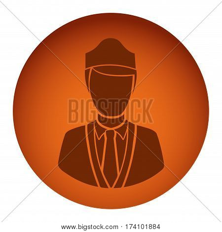 orange color circular frame with silhouette stewardess half body vector illustration