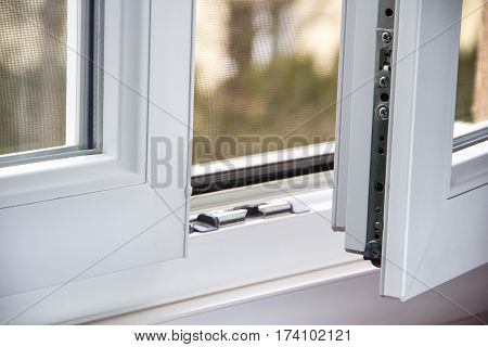 Secure anti-theft burglars-proof window locking mechanism - strong modern PVC metal window