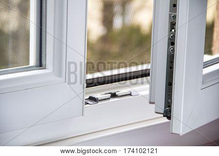 Secure anti-theft burglars-proof window locking mechanism - strong modern PVC metal window poster