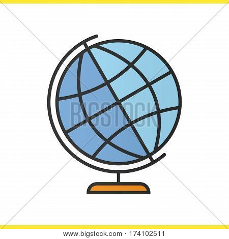 School globe color icon. Earth spherical model. Globus isolated vector illustration