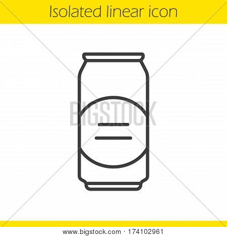 Beer can linear icon. Thin line illustration. Aluminium can contour symbol. Vector isolated outline drawing