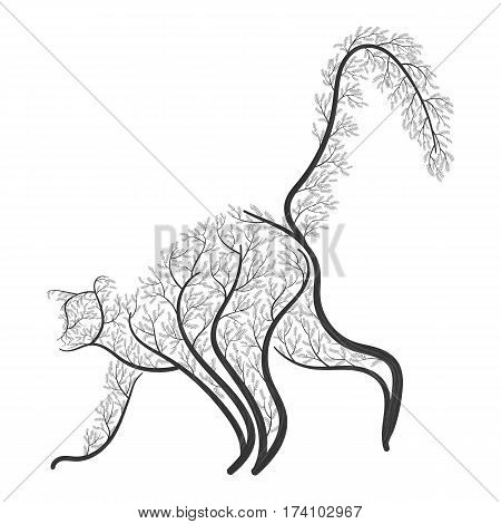 Ringtailed lemur stylized bushes on a white background for use as logos on cards in printing posters invitations web design and other purposes.