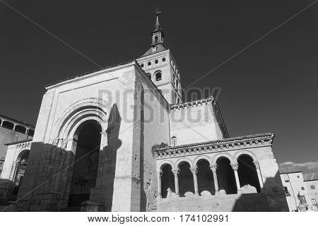 Segovia (Castilla y Leon Spain): exterior of the medieval church of San Martin. Black and white