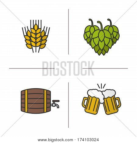 Beer color icons set. Wheat ears, hop cones, alcohol wooden barrel, toasting beer glasses. Isolated vector illustrations
