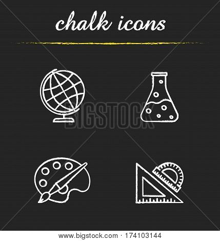 Education chalk icons set. Geography, chemistry, art, geometry symbols. School rulers, chemical reaction, palette with brush, globe. Isolated vector chalkboard illustrations