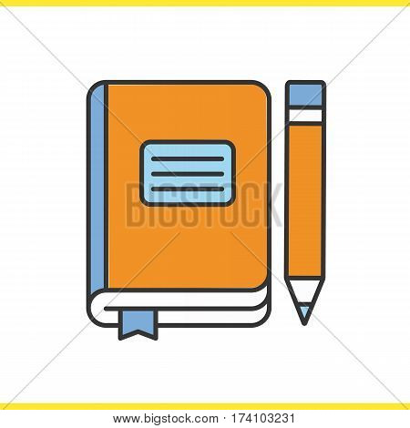 Diary notebook with pencil color icon. School journal with bookmark. Isolated vector illustration