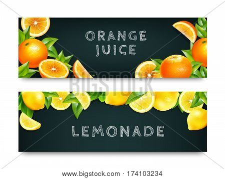 Orange juice lemonade 2 blackboard horizontal advertisement banners set with realistic citrus fruits border isolated vector illustration