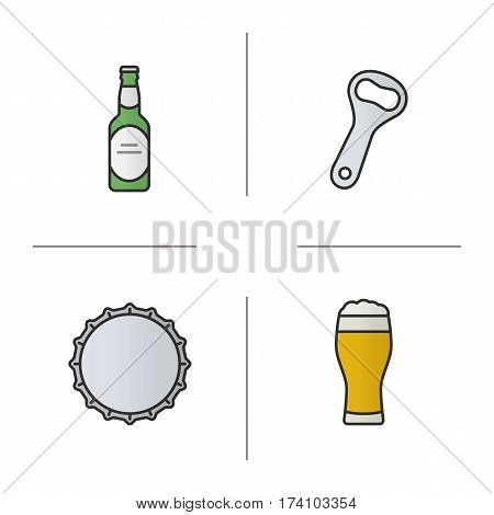 Beer color icons set. Beer bottle, opener, cap and full foamy glass. Isolated vector illustrations