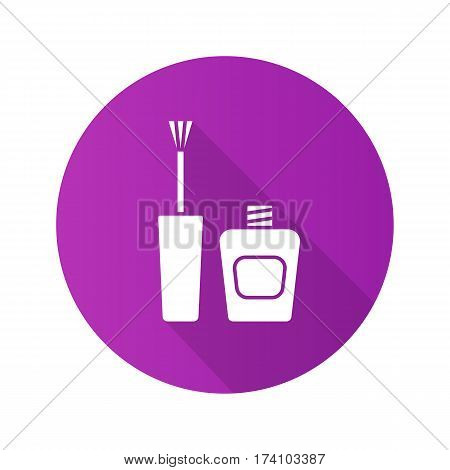 Nail polish flat design long shadow icon. Purple nail varnish bottle with brush. Vector silhouette symbol